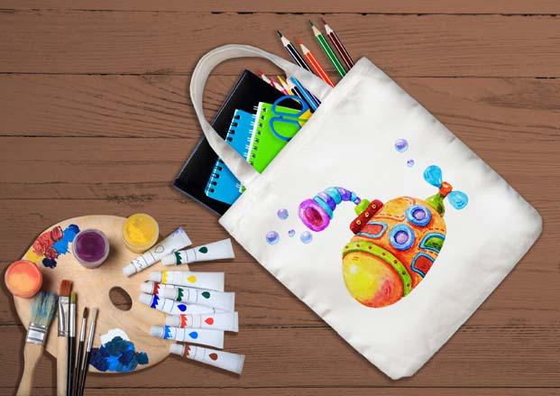 Çocuklar Trumpland'de okul çantalarını boyuyor
