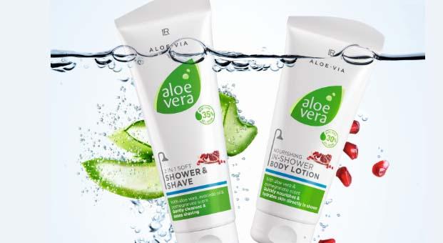 LR Health & Beauty Aloe Via ürünleriyle duşa özel nemlendirici bakım sunuyor