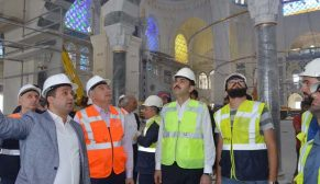 Bakan Kurum Çamlıca  Camii  inşaatında incelemelerde bulundu