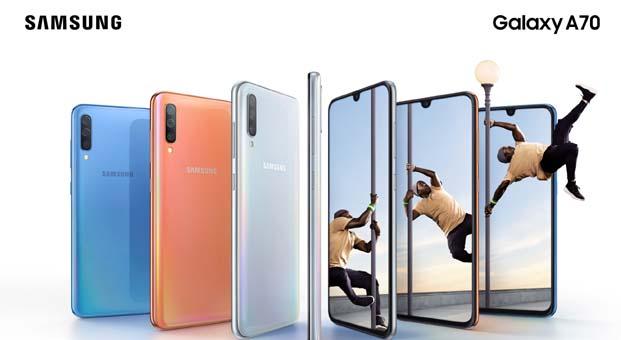 Samsung Galaxy A serisinin en büyük ekranlıüyesi Yeni Galaxy A70 tanıtıldı
