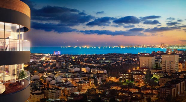 Panoramik İstanbul manzarası The Mandarins Acıbadem'de
