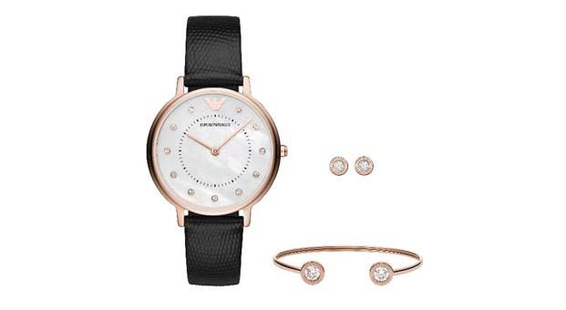 Şık ve elegant Emporio Armani aksesuar seti Saat&Saat'te